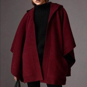 Burberry Deep red Carla Hooded poncho